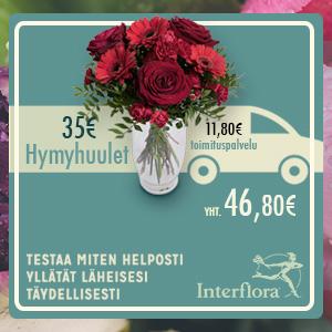 kukat ja rakkausruno kotiin toimitettuna